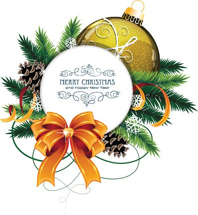 Christmas card with yellow bauble