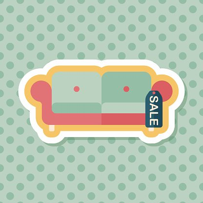 shopping sale sofa flat icon with long shadow,eps10