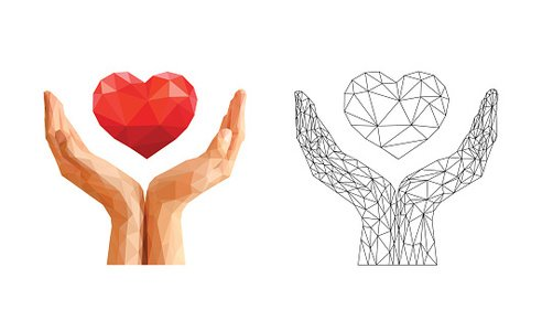 cupped hands hold the floating heart and skeleton