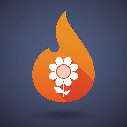 Flame icon with a flower
