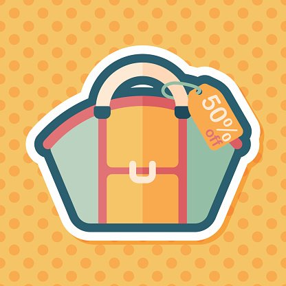 shopping bag flat icon with long shadow,eps10