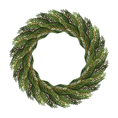 Traditional wreath of spruce branches for Christmas decoration.