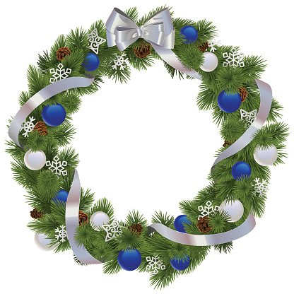 Vector Christmas Wreath with Blue Decorations