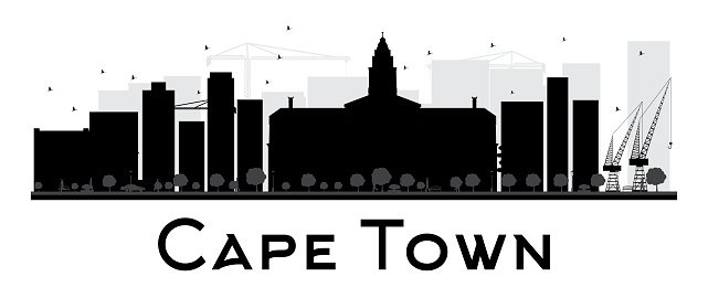 Cape Town City skyline black and white silhouette.