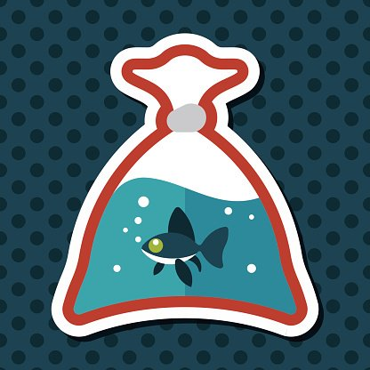 Pet fish flat icon with long shadow,eps10