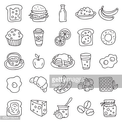 Set of vector icons for breakfast
