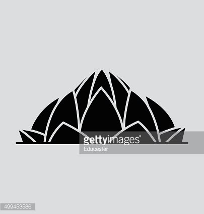 Lotus Temple In India Solid Vector Illustration