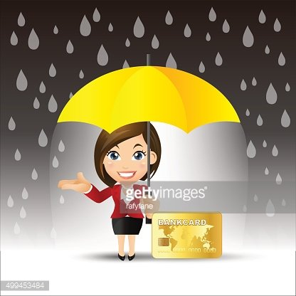 Businesspeople protecting money for any storm problem