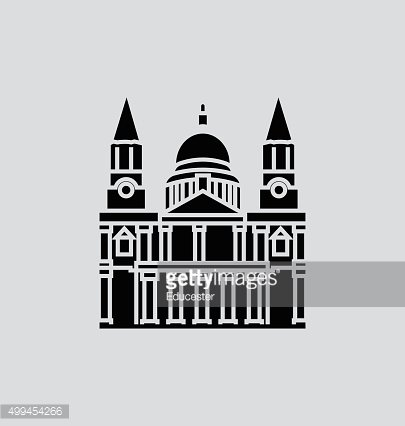 St Paul's Cathedral Solid Vector Illustration