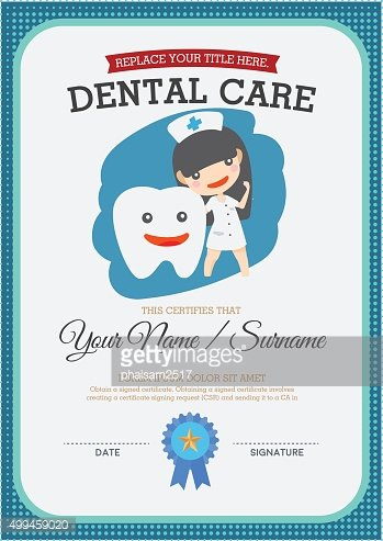 Dental care certificate. Suitable for young children