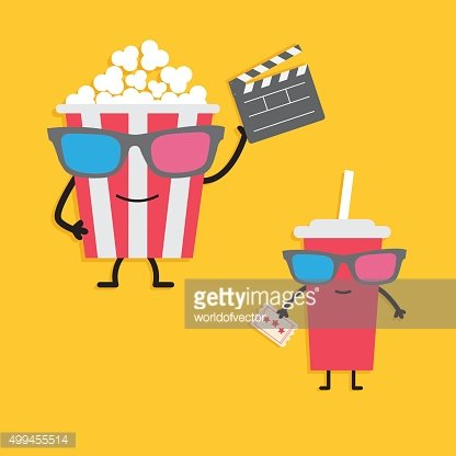 Popcorn sodaCharacters in 3D glasses clapper board, ticket. Cinema Flat