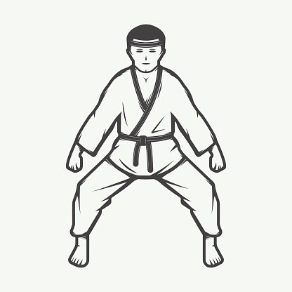 Vintage Karate Boy In Retro Premium Clipart