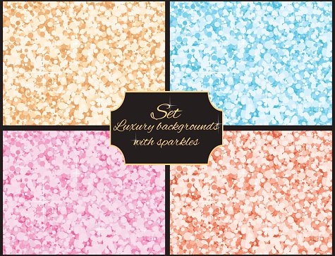 Set of multicolored luxury background with sparkles