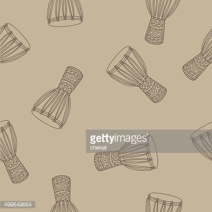 Seamless vector pattern of ethnic drums