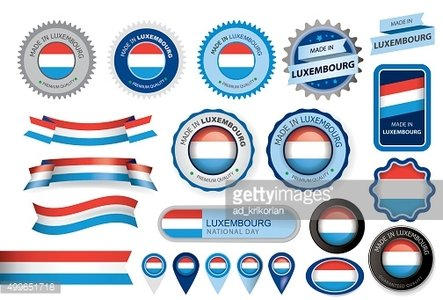 Made in Luxembourg Seal, Country Flag (Vector Art)