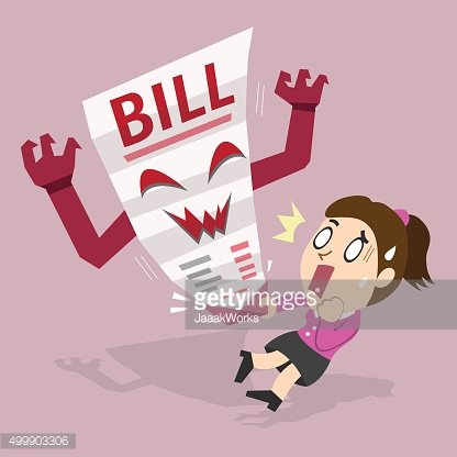 Cartoon a woman and bill payment