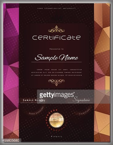Gift modern vintage certificate diploma award template color triangle background