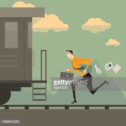 Business man running after the train.