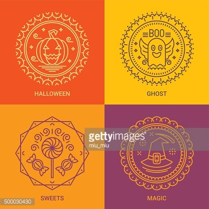 Design templates in linear style - Halloween, Spooky, Sweets, Magic