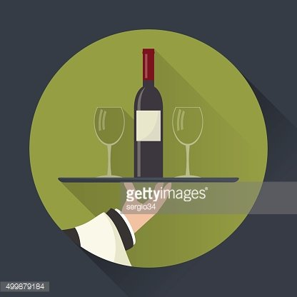 Waiter with wine bottle and glasses