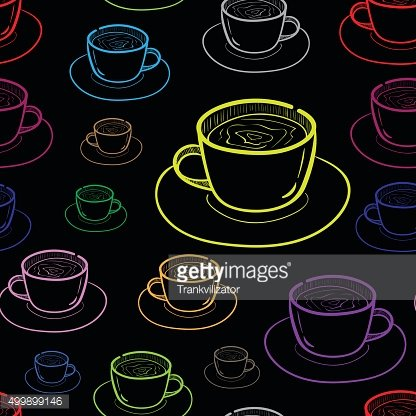 Seamless dark contours of cups