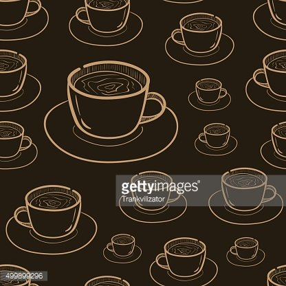 Seamless dark contours of coffee
