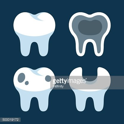 Teeth with Different Dental Problems Icons Set. Vector