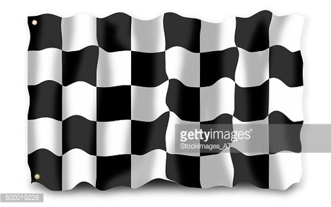 Waving checked flag on white background