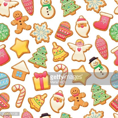 Colorful beautiful Christmas cookies icons pattern