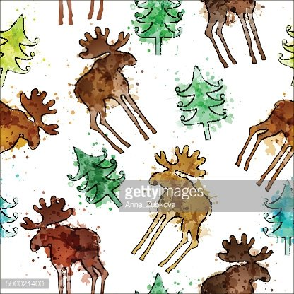 Seamless background with hand-drawn silhouettes of elk and fir-t