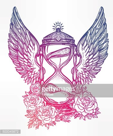 Romantic design of a winged hourglass with roses
