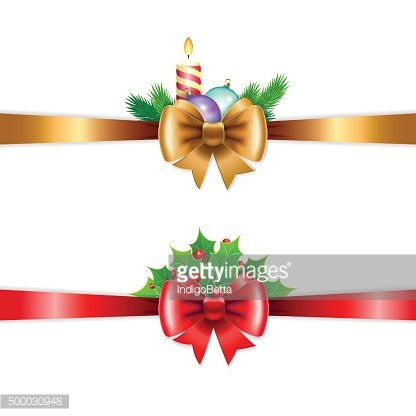 Christmas holiday decoration with red and gold ribbons.
