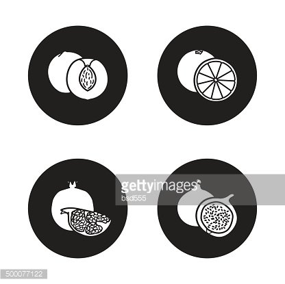 Fruits black icons set
