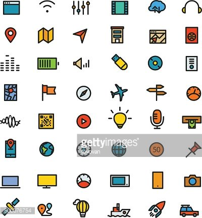 Different line style color icons set