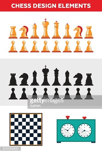 Flat design isolated black and white chess figures with chessboard