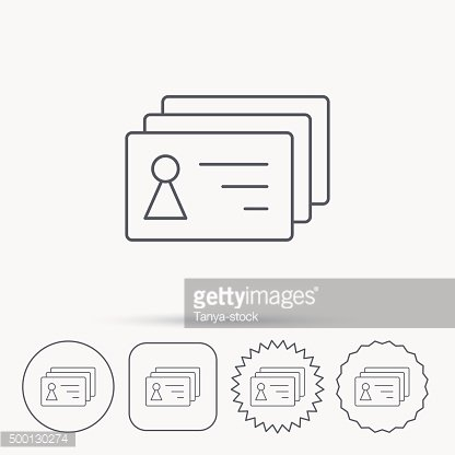 Contact cards icon. Identification badges sign.