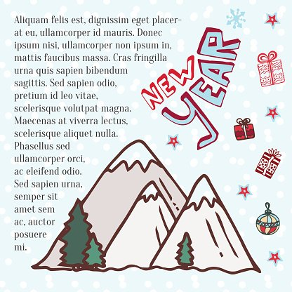 Winter mountains. Cute vector art for New year holidays decoration