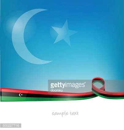 libya flag on sky background