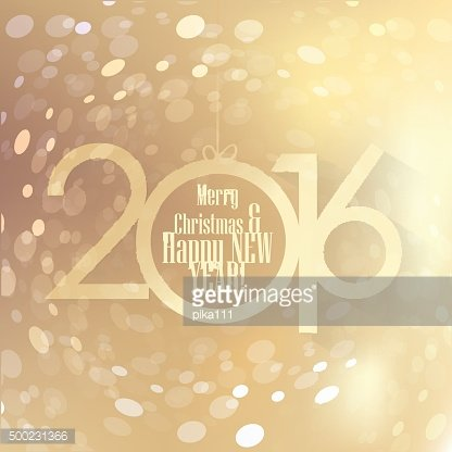 Happy New 2016 Year vector illustration with golden year numbers