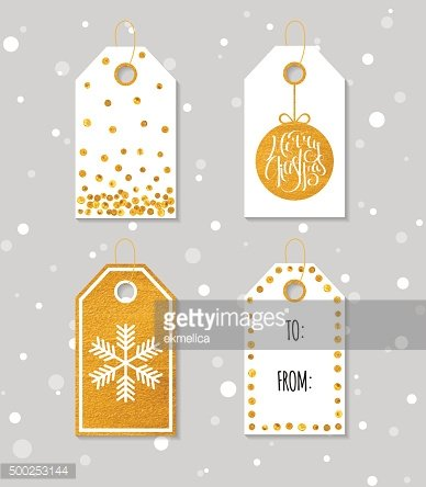 Gold textured festive gift tags.