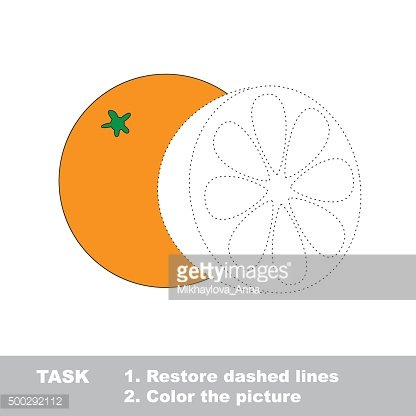 Vector trace game. Orange to be colored