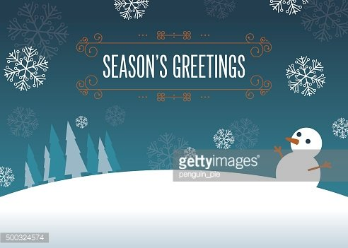 Season's greetings. Outdoor scene with snowfall, snowman and trees.
