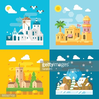 Flat design travel seasons set