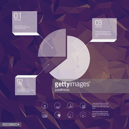 Infographics template with business icons and pie chart symbol. Statistics