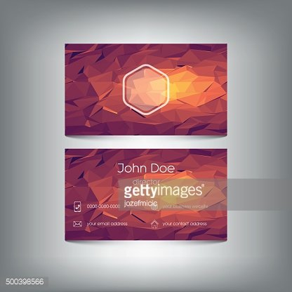Low poly business card with polygonal vector background. Company presentation