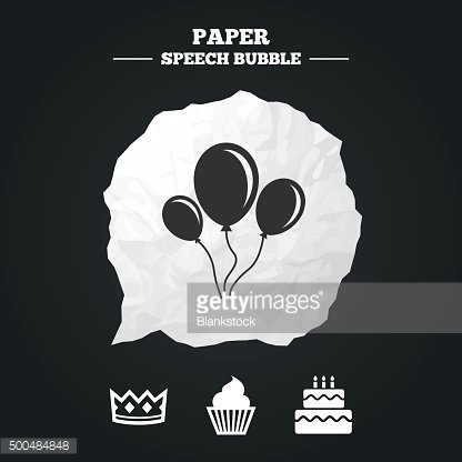 Birthday party icons. Cake and cupcake symbol