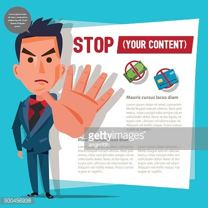 businessman with stop hand sign. financial concept - vector