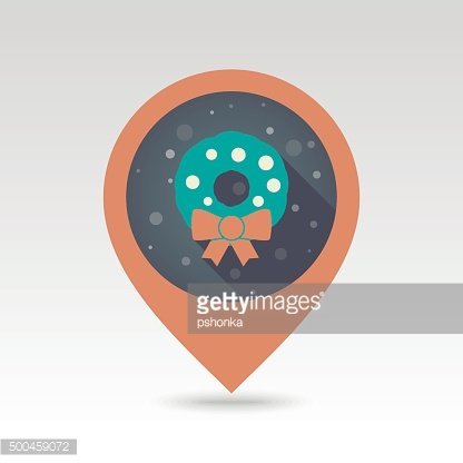 Christmas wreath pin map icon