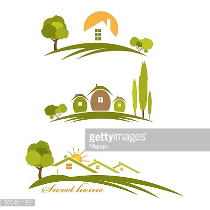 Illustration landscape with houses and trees