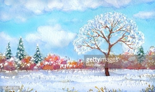 Watercolor landscape of series 'Tree in different seasons'